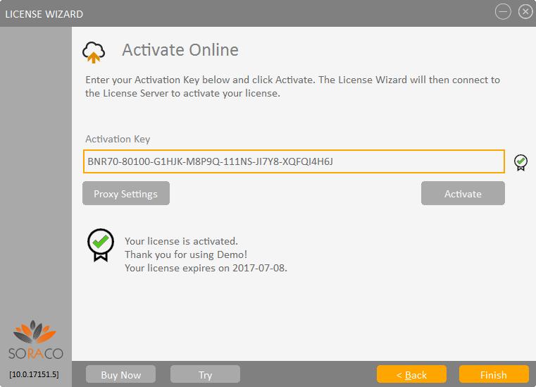 QLM License Wizard Online Activation